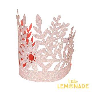 【Meri Meri】 ピンクグリッター フローラルカット ペーパークラウン 8個入り プリンセス パーティー 誕生日 バースデイ ファーストバースデイ(45-3378/170128)