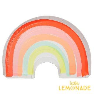 【Meri Meri】 レインボー ダイカット ペーパープレート 紙皿 12枚入り 虹 パーティー ホームパーティー 誕生日 バースデイ テーブルウェア(45-3231/168031)