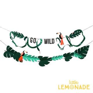 【Meri Meri メリメリ】 GO WILD ジャングルガーランド 飾り 鳥 ヘビ 葉っぱ バナー 誕生日 お祝い デコレーション 装飾(45-3437/171604)