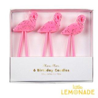 【Meri Meri メリメリ】 ピンクフラミンゴ グリッター入り キャンドル6本入り バースデーキャンドル ろうそく ケーキキャンドル 子供 誕生日 お祝い(45-3397/170299)