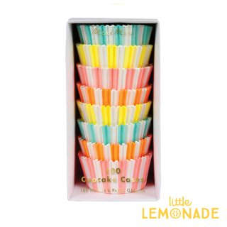 【Meri Meri】 ネオン ストライプのカップケーキケース 4色 100枚入り 【製菓 マフィンカップ イースター ベーキングカップ カップケーキ(45-2858/158482)