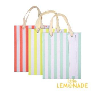 【Meri Meri】 ネオンストライプ ペーパーバッグ3枚セット 紙袋 パーティー ギフトバッグ バースデイ プレゼント袋 しましま(44-0161/157906)