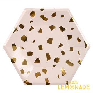 【Meri Meri】 ブラッシュ テラゾー ペーパープレート 8枚入り パーティー用紙皿 ホームパーティー 紙皿 大理石 ピンクxゴールド(45-3302/168652)