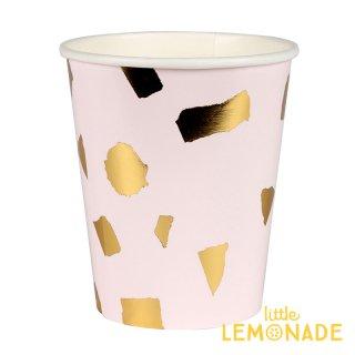【Meri Meri】ブラッシュ テラゾー ペーパーカップ 8個入り 紙カップ 紙コップ ホームパーティー 使い捨てカップ 大理石 ピンクxゴールド(45-3329/169705)
