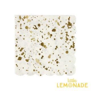 【Meri Meri】ホワイトxゴールド スパタ しぶき柄 ペーパーナプキン 16枚入り パーティー用紙ナプキン ホームパーティー(45-3311/168733)