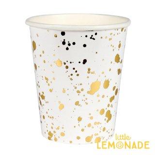 【Meri Meri】ホワイトxゴールド スパタ しぶき柄 ペーパーカップ 8個入り パーティー用紙カップ 紙コップ ホームパーティー(45-3309/168715)