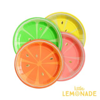 【Meri Meri】 ネオン シトラス ペーパープレート 紙皿 4色アソート 8枚入り オレンジ グレープフルーツ レモン ライム(45-3283/168490)
