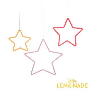 【Meri Meri】 ワイヤーウール モビール 3つのお星さま ハンギングデコレーション CORAL PINK ORANGE(30-0240/173449)