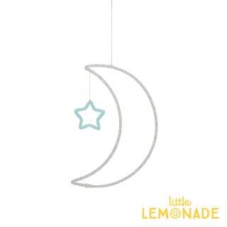 【Meri Meri】 ワイヤーウール  モビール お月さま お星さま ハンギングデコレーション silver & mint(30-0239/173440) ◆SALE