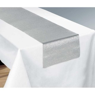 【amscan】テーブルランナー スパークリングシルバー Silver【テーブルウェア テーブルクロス グリッター パーティー オシャレ クリスマス】