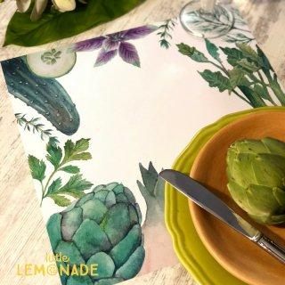 【Indigo De Papel】 プレイスマット Vegetables 正方形 紙製 12枚つづり 野菜 水彩 【チリ産 ボナペティ 食卓 おもてなし】