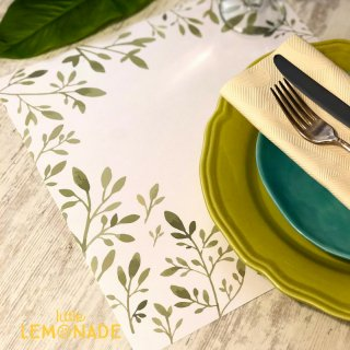 【Indigo De Papel】 プレイスマット Green Leaves 正方形 紙製 12枚つづり 葉 【チリ産 ボナペティ 食卓 おもてなし】