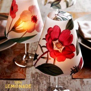 【Indigo De Papel】 ランプシェード Burgandy Flowers 3 枚セット バーガンディ  【チリ産 花柄 照明 紙製 DIY】