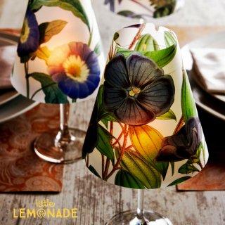 【Indigo De Papel】 ランプシェード Blue Flowers 3 枚セット バーガンディ  【チリ産 花柄 照明 紙製 DIY】