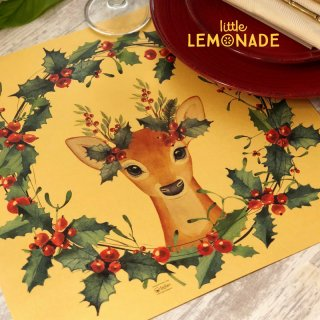 【Indigo De Papel】 プレイスマット X'mas Reindeer 正方形 紙製 12枚つづり ダリア 水彩 【チリ産 ボナペティ 食卓 おもてなし】