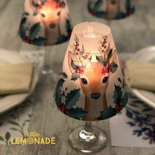 【Indigo De Papel】 ランプシェード X'mas Reindeer 3 枚セット バーガンディ  【チリ産 花柄 照明 紙製 DIY】