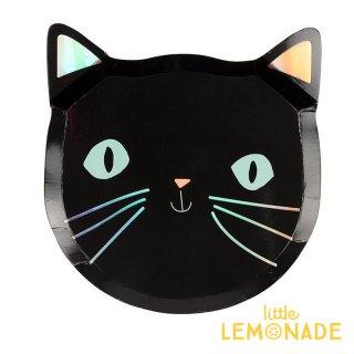 【Meri Meri】猫 ダイカット ペーパープレート 8枚入り 黒猫 紙皿 ハロウィン(45-3727/179101)