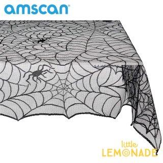 【amscan】クモの巣柄のレーステーブルクロス テーブルカバー スパイダーウェブ 【HALLOWEEN ハロウィン テーブルウェア 装飾 飾り付け】(570199) ■SALE 25%OFF