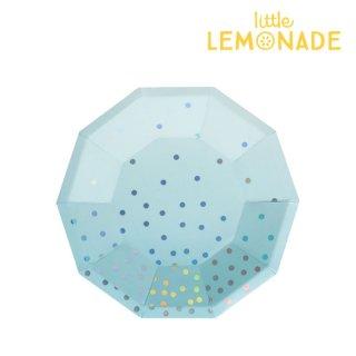 【illume partyware】ブルーイリディセント デザート ペーパープレート【中 直径18.5cm】10枚入り(ID-DPLATE-039)