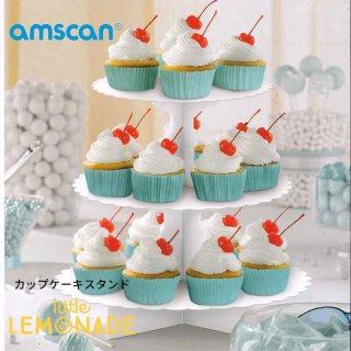 【amscan アムスキャン】ホワイト カップケーキスタンド【紙製】【3段】(140075.08)