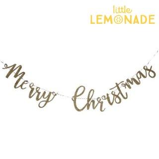 【Ginger Ray 2018】Merry Christmas ゴールド グリッター 木製ガーランド【クリスマス  飾り ラメ パーティー バナー  デコレーション】(GD-427)