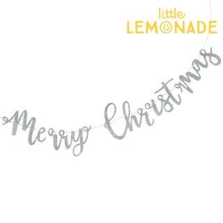 【Ginger Ray 】シルバー グリッター 木製Merry Christmas ガーランド【クリスマス  飾り パーティー クリスマスデコレーション】(SL-332)