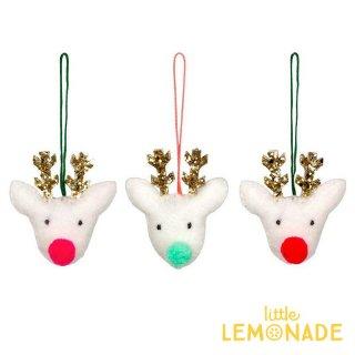 【Meri Meri 2018】クリスマス ミニオーナメント 小さな3匹のトナカイ【Felt Reindeer Head】【ツリー 飾り クリスマスツリー】(60-0080/181126)