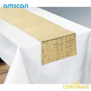 【amscan アムスキャン】テーブルランナー スパンコールゴールド【テーブル コーディネート スタイリング 誕生日 パーティー】(241947.19)