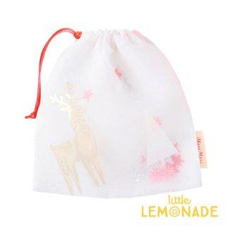 【Meri Meri メリメリ】ラッピングバッグ 3個入り【Christmas Icons Shaker Bag 】 トナカイやツリーが入った布袋 巾着  (45-3812 / 180190)