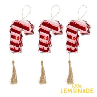 【Meri Meri】クリスマス キャンディーケーン ミニピニャータ フェイバー 3個入り(コンフェッティとタトゥーシールのセット) (45-3732/179146)
