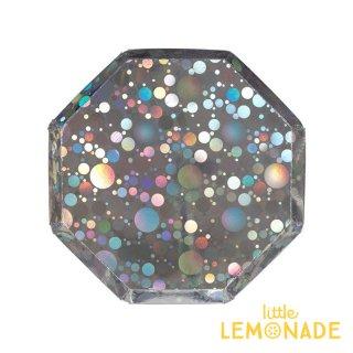 【Meri Meri メリメリ】ホログラムバブル ペーパープレート 8枚入り 八角形 クリスマス 紙皿(45-3764/179353)