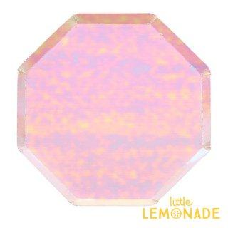 【Meri Meri メリメリ】イリディセント 大きなペーパープレート 8枚入り 八角形 Large Iridescent plate 虹色 紙皿 クリスマス(45-4032/181603)