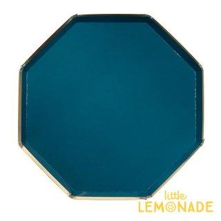 【Meri Meri メリメリ】ダークグリーン 大きなペーパープレート 8枚入り 八角形 Large Dark Green plate  紙皿 クリスマス(45-4006/181333)