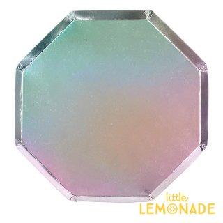 【Meri Meri メリメリ】シルバーホログラム 大きなペーパープレート 8枚入り 八角形 Large Silver Hologram plate  紙皿 クリスマス(45-4117/184654)