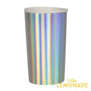 【Meri Meri メリメリ】シルバーホログラム ペーパーカップ 8個入り トールサイズ Holographic Cup  紙コップ (45-4105/181945)