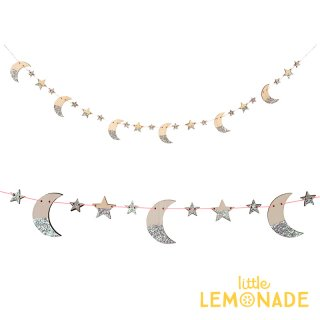 SALE◆【Meri Meri】 木製 月と星のガーランド シルバーグリッター  【Wooden Moon Star Garland】 星 クリスマス (45-3772/179398)