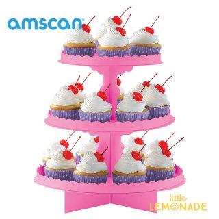 【amscan アムスキャン】ピンク カップケーキスタンド【紙製】【3段】(140075.109)
