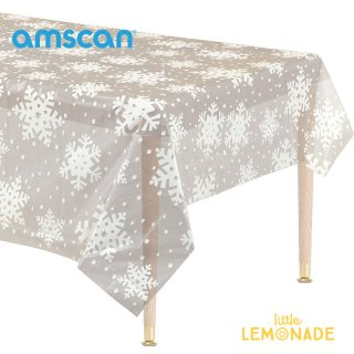 【amscan】スノーフレーク柄 ビニール テーブルクロス 長方形 【クリスマス 飾り おしゃれ 撥水 テーブル 雪の結晶 透明 カバー プラスチック】(571205)