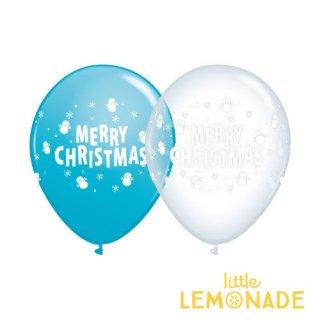 【クリスマス ゴム風船アソート 5枚パック】Merry Christmas 雪だるま柄 クリアとブルー 11インチ【飾り xmas スノーマン スノーフレーク 雪の結晶 透明 青】