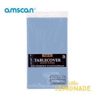 【amscan】【テーブルクロス】使い捨てテーブルクロス ペールブルー プラスチック製 テーブルカバー(PG77015.108)