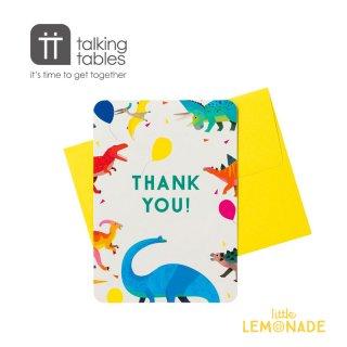 【Talking Tables】ダイナソーデザインカード Thank you 8枚入り 恐竜(DINO-THANKS) トーキングテーブルス