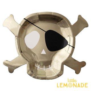 【Meri Meri】 海賊 ドクロマークのペーパープレート 8枚入り ゴールド パイレーツ  (186613)