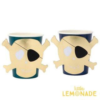 【Meri Meri】 海賊 ドクロマークのペーパーカップ 8個入り ゴールド パイレーツ  (186622)