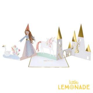 【Meri Meri】 マジカルプリンセスのバースデイカード 立てて飾れるプリンセスとユニコーンのグリーティングカード (188953)