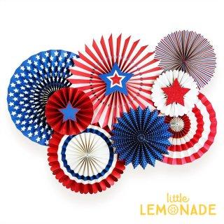 【my mind's eye マイマインズアイ】レッド&ブルー Stars&Stripes ペーパーファン8枚セット 星条旗 USA(SSP205)