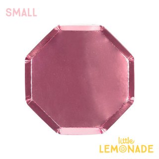 【Meri Meri メリメリ】 ピンクフォイル スモール ペーパープレート 8枚入り メタリック 八角形 pink foil(182026)