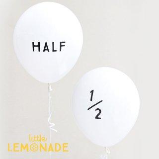 【風船】パーティーバルーン 5枚パック 「HALF」「1/2」 ホワイト ハーフバースデー  HALF BIRTHDAY