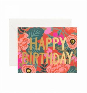 【RIFLE PAPER ライフルペーパー】 バースデーカード/Poppy Birthday(ポピーフォイル) (GCB034)