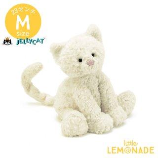 【Jellycat】Mサイズ Fuddlewuddle Kitty 子猫 白いネコ ぬいぐるみ  (FW6KT)