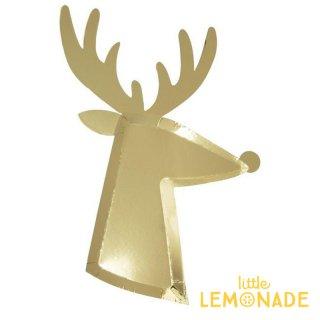 【Meri Meri メリメリ】 ゴールド トナカイダイカットプレート 8枚入り Reindeer Plate ペーパープレート 紙皿 クリスマス(196332)